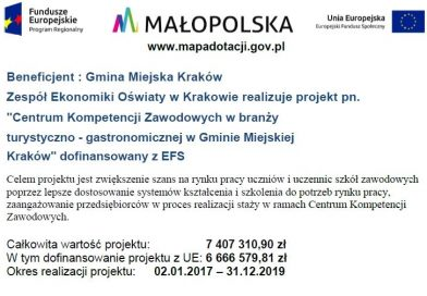 LISTA OSÓB ZAKWALIFIKOWANYCH NAKURSY BARMAŃSKIE wramach projektu Centrum Kompetencji Zawodowych wGminie Miejskiej Kraków.