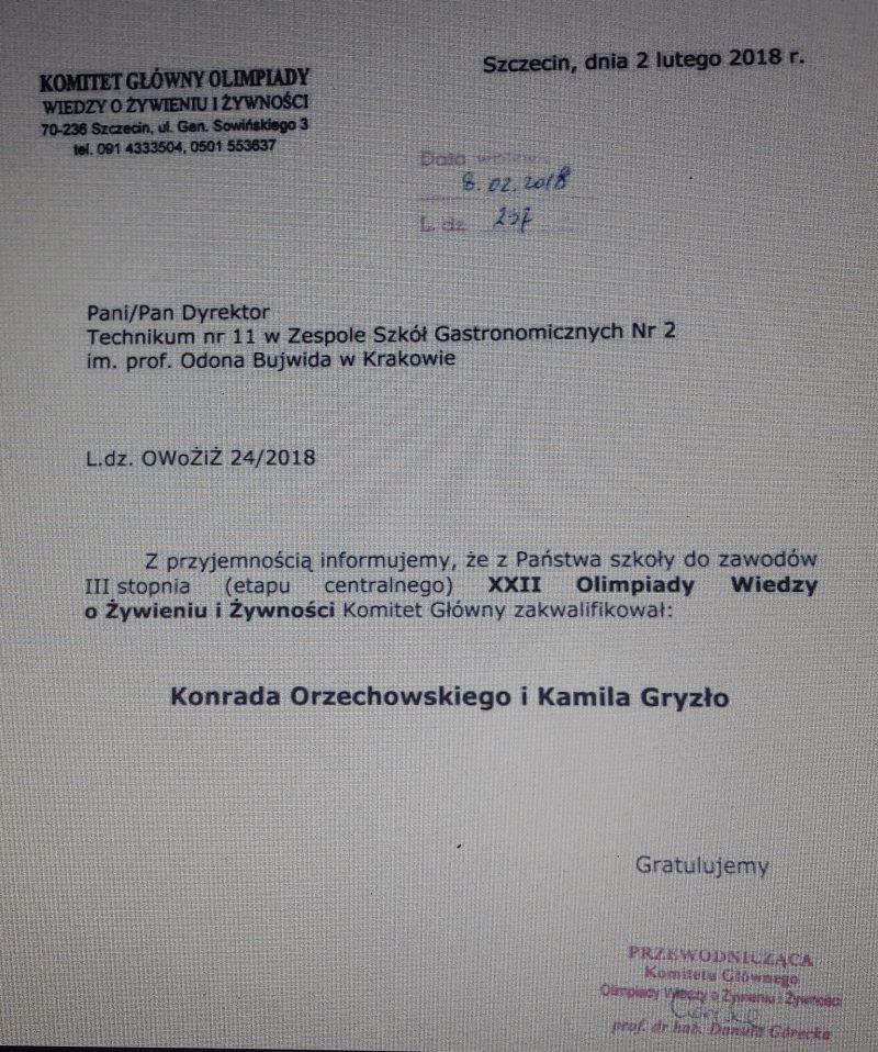 Wstępne zestawienie wyników eliminacji XXII Olimpiada Wiedzy oŻywieniu iŻywności.