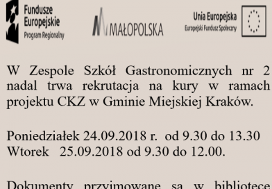 Dodatkowa rekrutacja nakursy wramach projektu CKZ wGminie Miejskiej Kraków