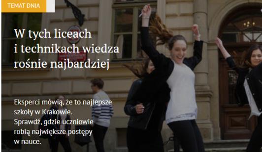Najlepsze szkoły. Gazeta Krakowska.