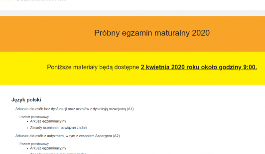 Próbny egzamin maturalny 2020