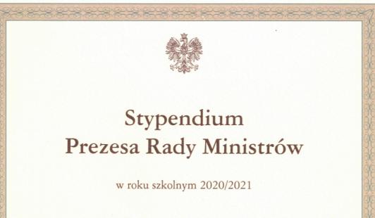 Stypendium Prezesa Rady Ministrów wroku szkolnym 2020/21 r.