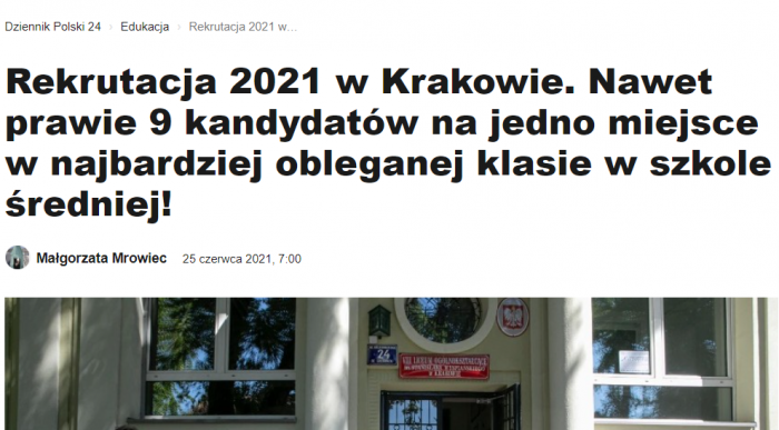Rekrutacja 2021 wKrakowie.