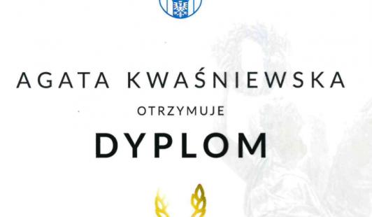 """""""Laur Olimpijski"""" edycji 2019/2020 dla Agaty Kwaśniewskiej."""